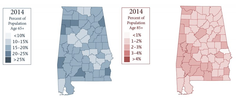 Alabama population 65-85+